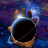 Planet Create. Creations hand. Some elements image credit NASA Stock Images