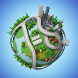 Planet 3D City. Planet 3D Cartoon City version 01 Royalty Free Stock Images