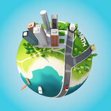 Planet 3D City. Planet 3D Cartoon City version 02 Royalty Free Stock Images