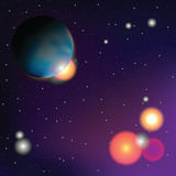 Planet and dark space in background  (Vector) Royalty Free Stock Images