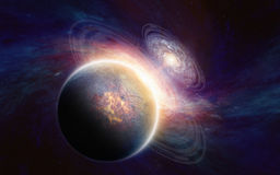 Planet in deep space. Abstract scientific background - glowing aliens planet in deep space, spiral galaxy. Elements of this image furnished by NASA nasa.gov Stock Photos