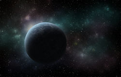 Planet in deep space. Planet in space with a blue nebula and stars Stock Photography