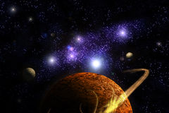 Planet Deep in Space. Galaxy and universe Royalty Free Stock Images