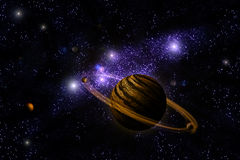 Planet Deep in Space. Galaxy and universe Stock Photo