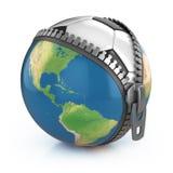 Planet des Konzeptes des Fußballs 3d Stockfotos