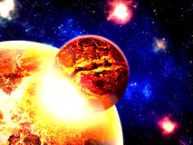 Planet destroyed in collision. Illustration of planetary collision Stock Photos