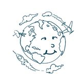 Planet Doodle With Cute Cartoon Face On White Background Earth Day Concept vector illustration