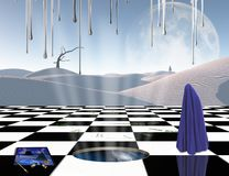 Planet of Dreams. Surrealism. Chessboard with portal to another dimension. Lonely man in a distance. Figure of man covered by purple cloth. White sand dune Stock Images