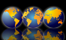 Planet Earth. This image showing three globes in a row with reflections of the globes below. The first image of planet earth shows America and Canada. The second Royalty Free Stock Photos