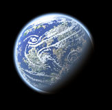 Planet Earth. Computer generated planet Earth (view from space orbit satellite) over black Stock Images