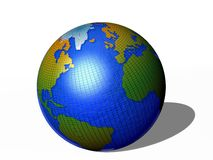 Planet Earth. 3d illustration of Planet Earth with African and American continent; white studio background Royalty Free Stock Photography