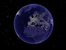 Planet Earth. A 3d illustration of a planet Earth by night Stock Photography
