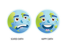 Planet earth. 2 illustrations of a cartoon based earth showing scared and happy expressions Stock Images