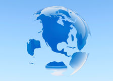 Planet Earth. 3D rendered. Blue background. Royalty Free Stock Image