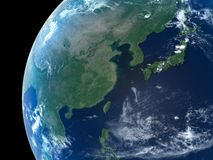 Planet Earth. East Asia as seen from space with cloud vector illustration