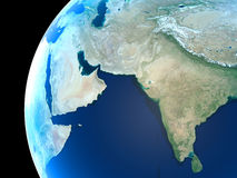 Planet Earth. Middle East, India and parts of central Asia as seen royalty free illustration