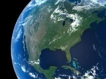 Planet Earth. North America as seen from space with cloud formations royalty free illustration