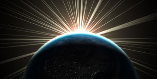 Planet Earth. 3D render of the earth with sunlight rays Royalty Free Illustration