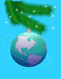 Planet the Earth. New Year's sphere in the image of a planet the Earth Royalty Free Stock Image