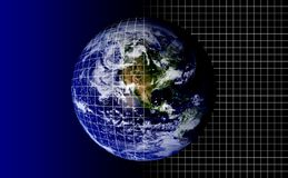 Planet Earth. With Grid Mapping Stock Photography