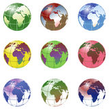 Planet earth. In various colors Royalty Free Stock Images