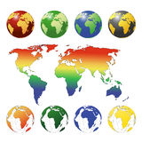 Planet earth. In various colors Royalty Free Stock Photo