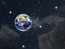 The Planet earth. With flare in space Stock Photos