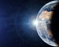 Planet Earth from above with lens flare Royalty Free Stock Image