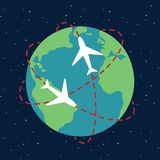 Planet Earth airplane route path globe in space sky night star t. Ravel map illustration vector Vector Illustration