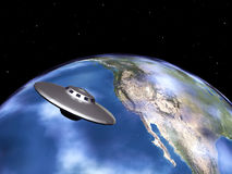 Planet Earth and Alien Spaceship Royalty Free Stock Image