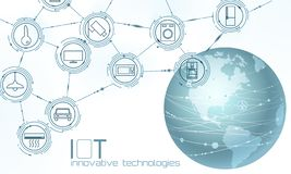 Free Planet Earth America USA Continent Internet Of Things Innovation Technology Concept. Wireless Communication Network IOT Stock Photo - 134231280