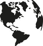 Planet earth with american continents silhouette. Vector Stock Image
