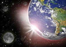Planet Earth And Moon In The Deep Space Stock Photo