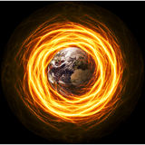 Planet Earth Apocalypse. In fiery lightning Stock Images