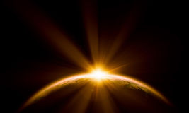 Planet Earth. With appearing sunbeam light. Elements of this image are furnished by NASA Stock Photos