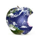 Planet earth on a apple. Planet earth shown as an apple with a bite taken out of it Stock Photography