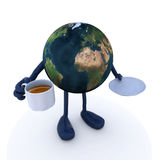 Planet earth with arms and legs and cup of coffee Royalty Free Stock Photography