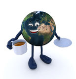 Planet earth with arms and legs and cup of coffee Royalty Free Stock Image