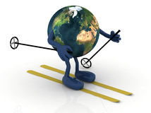 Planet earth with arms and legs, ski and stick Stock Images