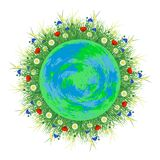 Planet Earth. Around her grow field and meadow plants and flowers. World Environment Day Stock Image