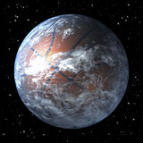Planet earth as basket ball, centered. Space background, 3d rendering Royalty Free Stock Image