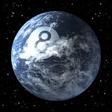 Planet earth as billiard ball, black eight. 3d rendering, space background Stock Image