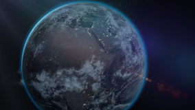 Planet Earth as seen from space. With stars background. 3d rendering Royalty Free Stock Photography