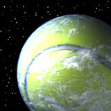 Planet earth as tennis ball, closer look. 3d rendering, space background Stock Photos