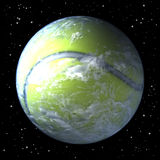 Planet earth as tennis ball. 3d rendering, space background Royalty Free Stock Images