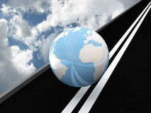 Planet Earth on the asphalt against the sky. 3D Royalty Free Stock Images