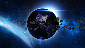 Planet Earth with asteroid in universe or space, Globe and galaxy in a nebula cloud with meteors Royalty Free Stock Image