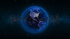 Planet Earth with asteroid in universe or space, Globe and galaxy in a nebula cloud with meteors. (Elements of this 3d rendered image furnished by NASA Royalty Free Stock Photo