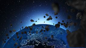 Earth and asteroids. An illustration of the planet earth with asteroids in space Stock Photo