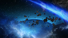 Planet Earth with asteroid in universe or space, Globe and galaxy in a nebula cloud with meteors Stock Photography